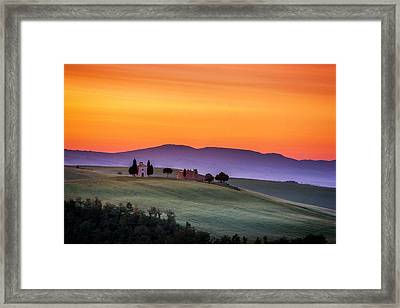 Chapel And Farmhouse In Tuscany Framed Print