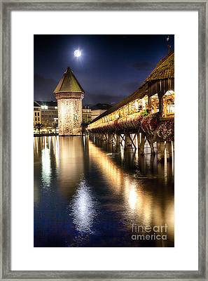 Chapel Bridge At Night In Lucerne Framed Print by George Oze