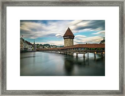 Chapel Bridge In Lucerne Framed Print by James Udall