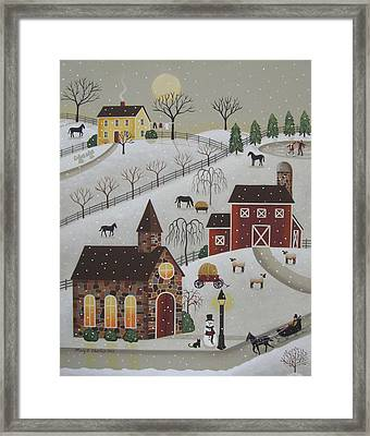 Chapel In The Snow Framed Print by Mary Charles