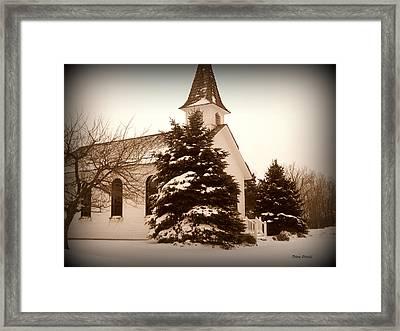 Chapel In The Snow Framed Print by Trina Prenzi