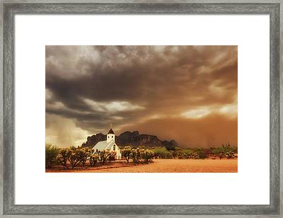 Framed Print featuring the photograph Chapel In The Storm by Rick Furmanek