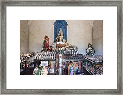 Chapel Mortuary Interior - San Xavier Del Bac Mission - Tucson Arizona Framed Print by Jon Berghoff
