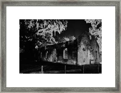 Chapel Of Ease St. Helena Island At Night Black And White Framed Print by Lisa Wooten