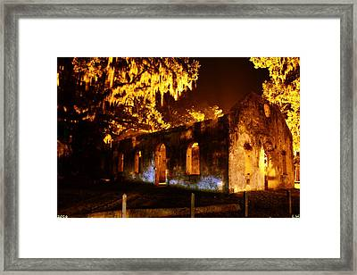 Chapel Of Ease St. Helena Island At Night Framed Print by Lisa Wooten