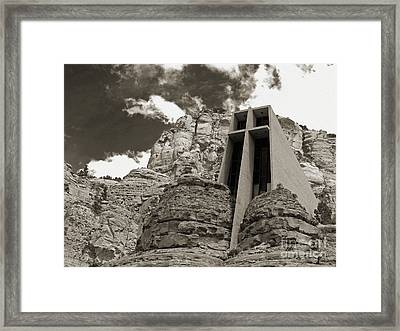 Chapel Of The Holy Cross Bw Framed Print by Kelly Holm