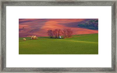 Framed Print featuring the photograph Chapel St Barbara. Moravian Tuscany by Jenny Rainbow
