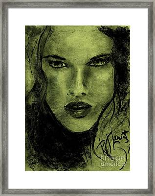 Framed Print featuring the drawing char-Carol by P J Lewis