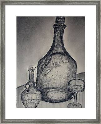 Charcoal  Glass Framed Print by Emily Ruth Thompson