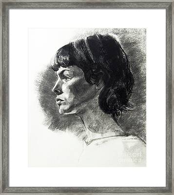 Charcoal Portrait Of A Pensive Young Woman In Profile Framed Print