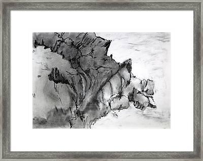 Charcoal Sea Rocks Framed Print