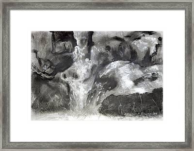 Charcoal Waterfall Framed Print