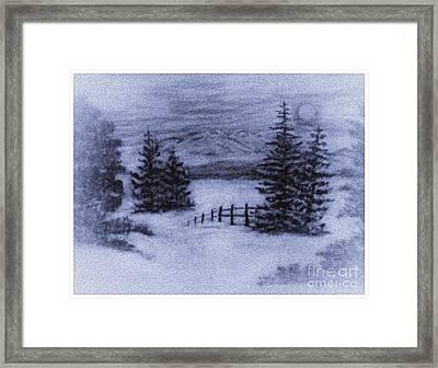 Charcoal Winter Mountain Scene  Framed Print