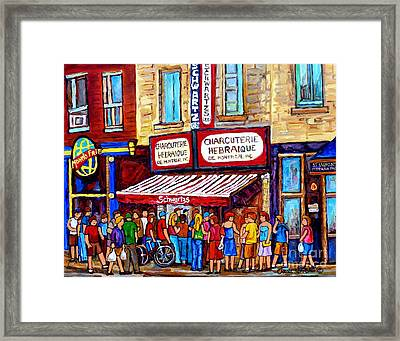 Charcuterie Hebraique Schwartz Line Up Waiting For Smoked Meat Montreal Paintings Carole Spandau     Framed Print