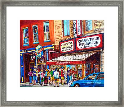 Charcuterie Schwartz Line Up Montreal Summer Scene Painting Rue St Laurent Carole Spandau Framed Print by Carole Spandau