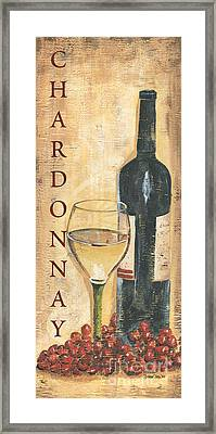 Chardonnay Wine And Grapes Framed Print