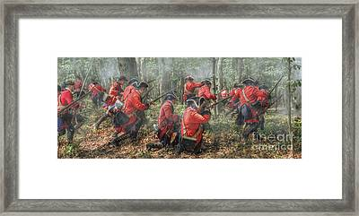 Charge Of The 60th Royal Americans Regiment At Bushy Run Framed Print by Randy Steele