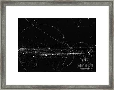 Charged Particles, Bubble Chamber Event Framed Print by Science Source