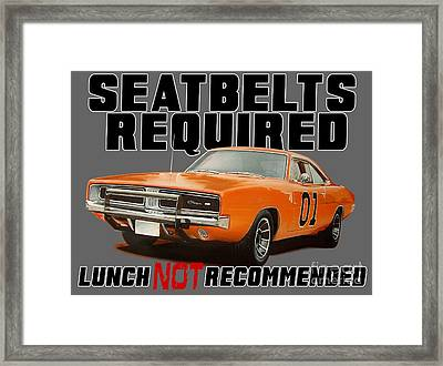 Charger Belts Required Framed Print by Paul Kuras