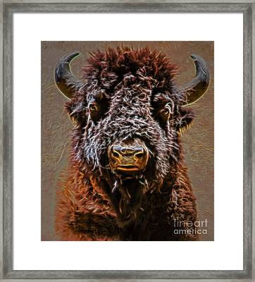 Framed Print featuring the digital art Charging Bison by Ray Shiu