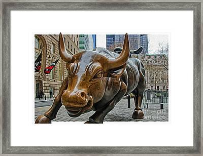 Charging Bull 4 Framed Print by Nishanth Gopinathan