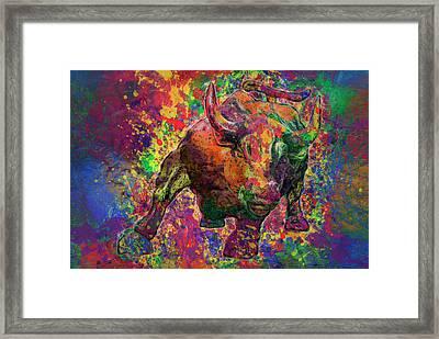 Charging Bull Framed Print by Jack Zulli