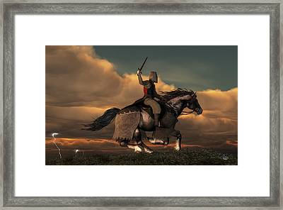 Charging Knight Framed Print by Daniel Eskridge
