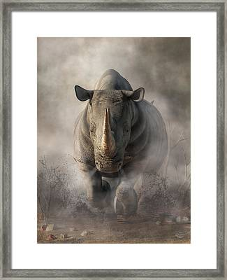 Charging Rhino Framed Print