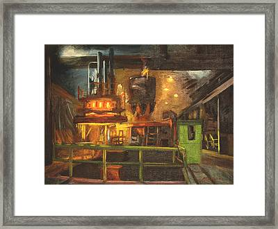 Charging The Arc Furnace Framed Print by Martha Ressler