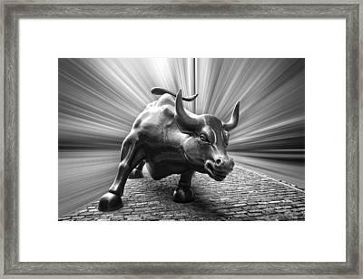 Charging Wall Street Bull B W Framed Print