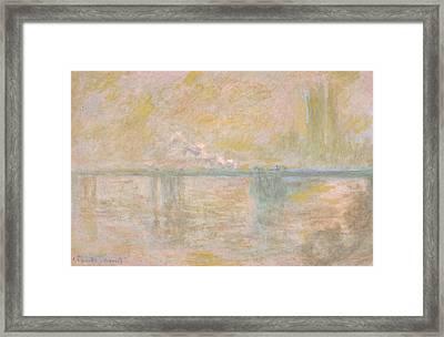 Charing Cross Bridge In London Framed Print by Claude Monet