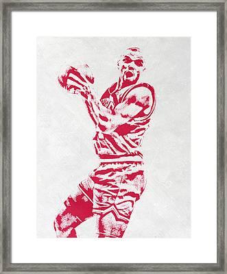 Charles Barkley Philadelphia Sixers Pixel Art Framed Print by Joe Hamilton