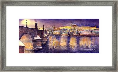Charles Bridge And Prague Castle With The Vltava River Framed Print by Yuriy  Shevchuk