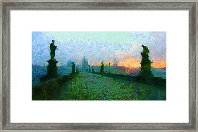 Charles Bridge At Dawn Framed Print by Peter Kupcik