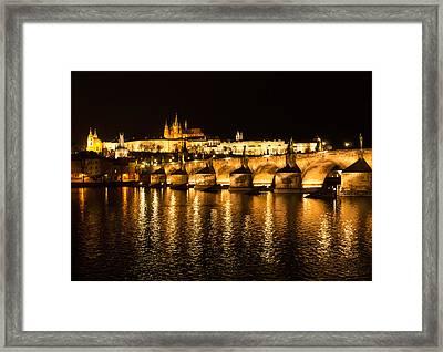 Charles Bridge At Night Framed Print