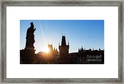 Charles Bridge At Sunrise, Prague, Czech Republic. Statues And Towers Silhouettes Framed Print
