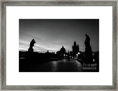 Charles Bridge At Sunrise, Prague, Czech Republic. Statues, Medieval Towers In Black And White Framed Print by Michal Bednarek