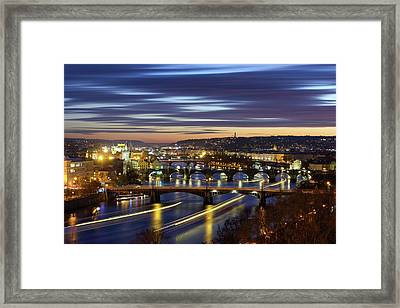 Charles Bridge During Sunset With Several Boats, Prague, Czech Republic Framed Print