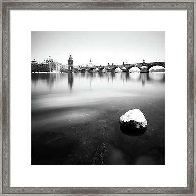 Charles Bridge During Winter Time With Frozen River, Prague, Czech Republic Framed Print