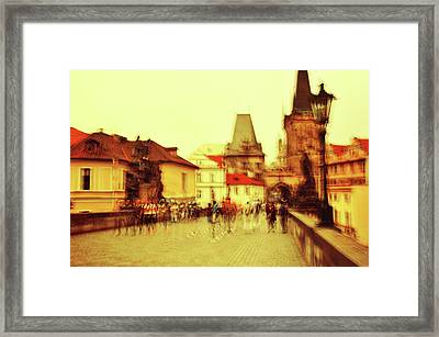 Framed Print featuring the photograph Charles Bridge. Golden Prague. Impressionism by Jenny Rainbow