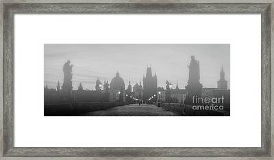 Charles Bridge In Fog At Sunrise, Prague, Czech Republic. Dramatic Statues And Medieval Towers. Framed Print by Michal Bednarek