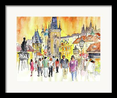 Charles Bridge Drawings Framed Prints