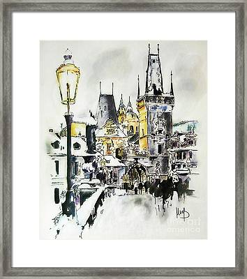 Charles Bridge In Winter Framed Print by Melanie D