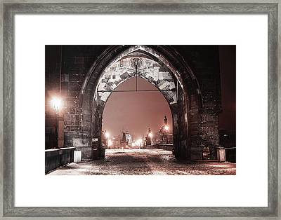 Charles Bridge In Winter. Prague Framed Print by Jenny Rainbow