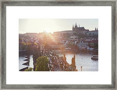 Charles Bridge On Vltava River In Prague, Czech Republic At Sunset. Prague Castle Framed Print