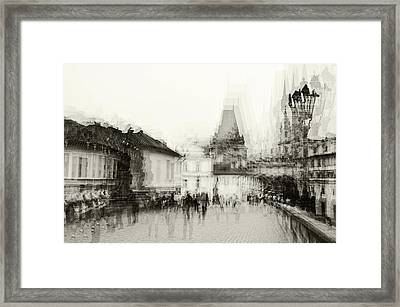 Framed Print featuring the photograph Charles Bridge Promenade. Black And White. Impressionism by Jenny Rainbow