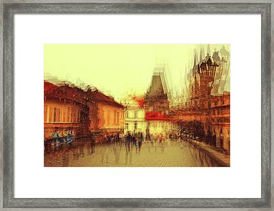 Framed Print featuring the photograph Charles Bridge Promenade. Golden Prague. Impressionism by Jenny Rainbow