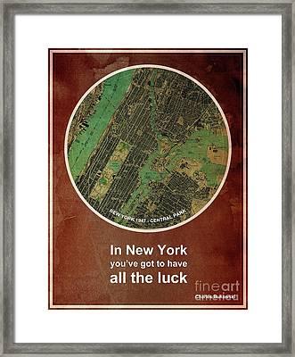Charles Bukowski Quote Of New York City Framed Print