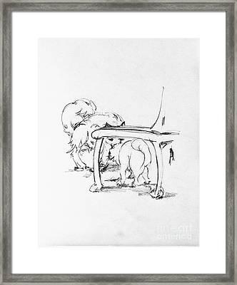 Charles Hiding Behind A Chair Framed Print