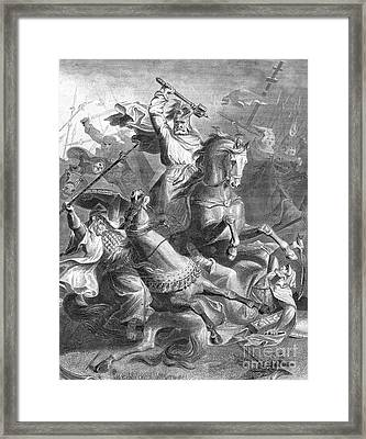 Charles Martel, Battle Of Tours, 732 Framed Print by Photo Researchers